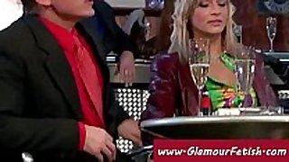 Classy woman in fur jerks off a shlong