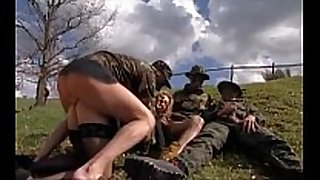 Girl group-fucked in grass by military males