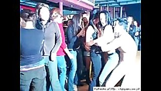 Sweet chicks dancing on party
