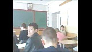Schoolgirls have joy in classroom