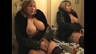 Busty horny white wife in nylons masturbating in this ho...