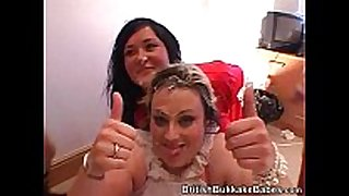 Two non-professional plump honeys receive cummed on