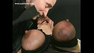 German taskmaster shouts at thrall and spanks her on...