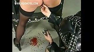 Slave got her snatch lips widen with big meta...