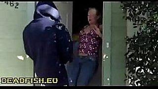 Surprise semen in doorway