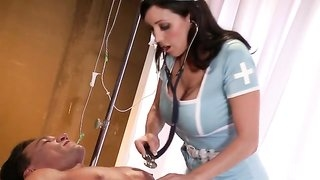 Busty nurse in sexy uniform gives her patient a special cure
