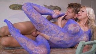 Nice blue full body ligerie milf has hard sex