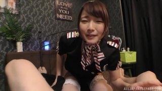 Fabulous Japanese lady in white stockings enjoys balldeep fucking