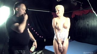 Blonde whore got tied up and fucked hard by two horny men