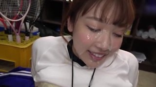Sporty Japanese girl gets her whole face covered in creamy cum