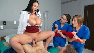 Black-haired doctor with big natural tits fucks her patient