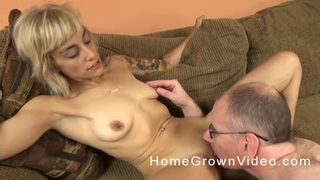 Horny old man with glasses fucks blonde chick on the couch