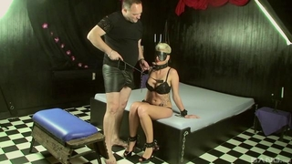 Short-haired slave with big juggs makes her master happy