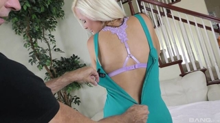Juggy cougar wearing black stockings shagged in the living room