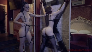BDSM loving lesbians licking and fucking with huge toys