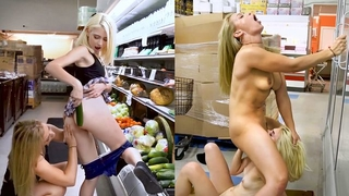 Two naked blonde babes make love in grocery store