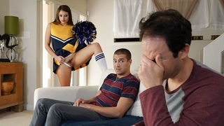 Juicy cheerleader in high-knee socks screwed behind her dad's back