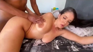 Thick brunette takes big black cock deep in her wet cunt