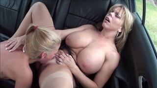 Amber Lynn Bach pleasuring horny lesbian in the car