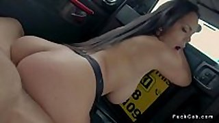 Curved black brown copulates in fake taxi