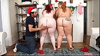 Two biggest gazoo bbws surprise fake santa claus